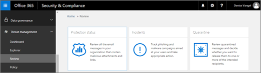 In the Security & Compliance Center, choose Threat management > Review