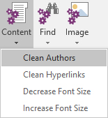 The Content menu in Onetastic for OneNote