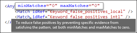 XML markup showing maxMatches attribute value of zero