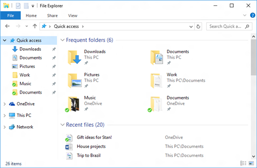 Quick access in File Explorer