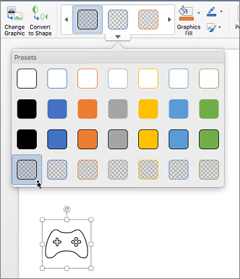 Editing graphical style of an icon