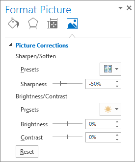 Picture Corrections options in the Format Picture task pane