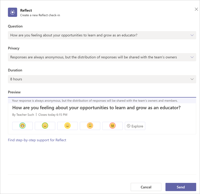 """Screenshot of creating a reflect for staff checking. An example question reading """"How are you feeling about your opportunities to learn and grow as an educator"""" has been selected."""