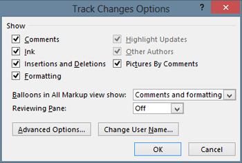 Trakc Changes Optiosn dialog
