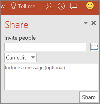 Shows the Share pane dialog in PowerPoint