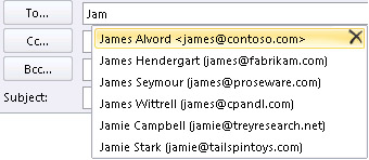 The Auto-Complete list doesn't remember names or email addresses ...