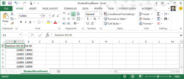 An example of StudentEnrollmentcsv file