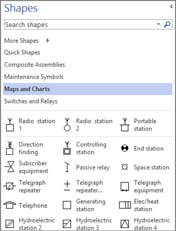 Screenshot of the Shapes pane for an Electrical Engineering diagram.