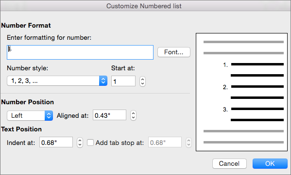 Customize Numbered List dialog box
