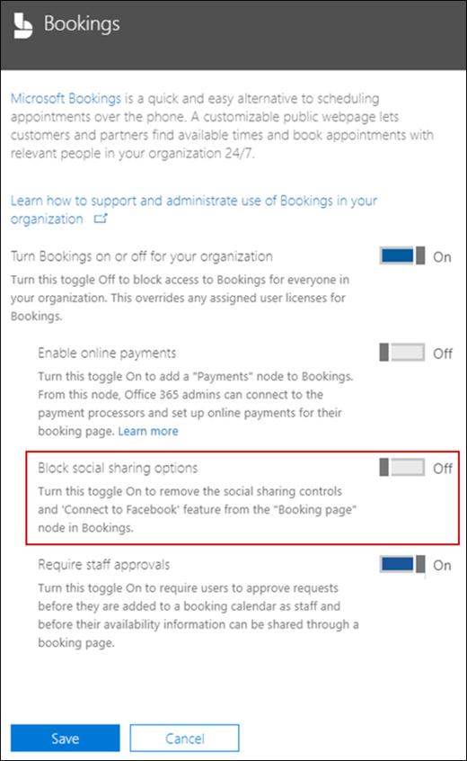 Screenshot: Block social sharing options in Bookings