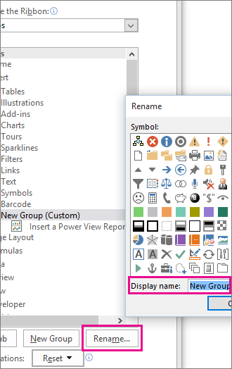 Rename button in Customize Ribbon dialog