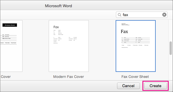"To create a fax cover sheet, search for ""fax,"" select a template, and click Create."