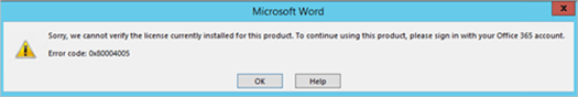 Cannot verify product license message