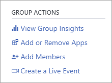 Group actions menu showing Create a Live Event