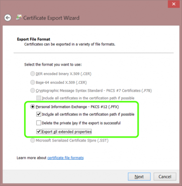 Include all certificates in the certification path