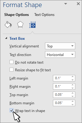 Format shape panel with Wrap Text selected