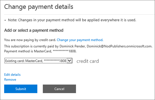 The Change payment details pane for a subscription that is currently paid by credit card.