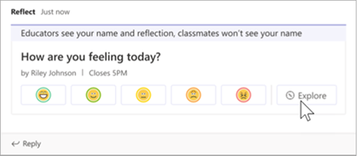 the educator view of the reflect-check in announcement in the class channel. A cursor hovers over the Explore button.