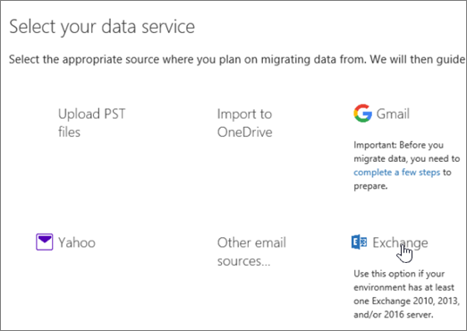 On the Migration page select Exchange as your data service