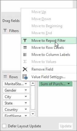Move to Report Filter