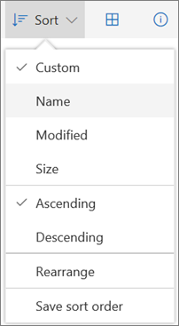 Screenshot of the Sort menu in OneDrive