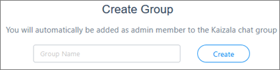Screenshot: Enter the name to create a new Kaizala group