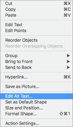 Context menu for shapes with alt text option selected.