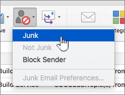 Mark message as junk menu item