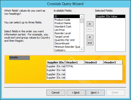 Select a field to display as row headings on the Crosstab query wizard.