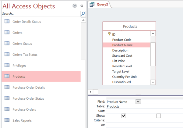 Screenshot of All Access Objects view