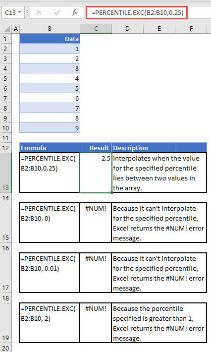 Exampels of the PERCENTILE.EXC function