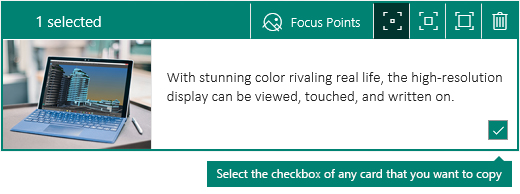 Selection checkbox in the corner of a Sway card
