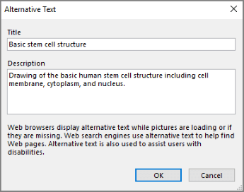 Screenshot of the alternative text dialog in OneNote with example texts in the Title and Description fields.