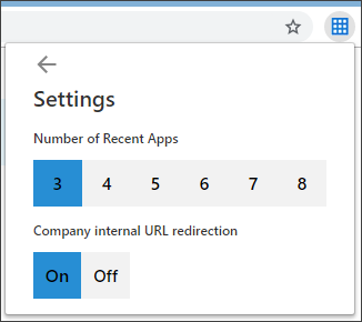 Settings page of the extension, showing the available customizations
