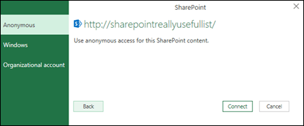 Excel Power Query connect to a Sharepoint List Connect dialog