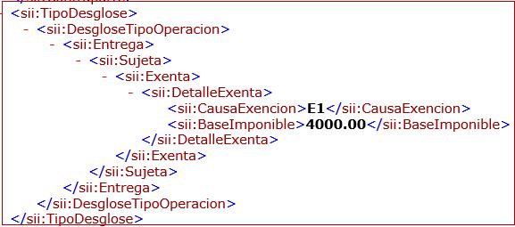 New parent node DetalleExenta for VAT exemption entries