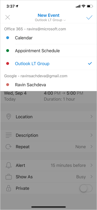 Android Outlook create event on group calendar