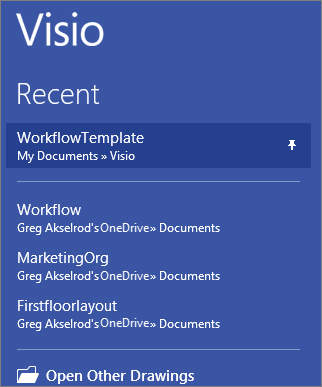 Pinned template in Visio