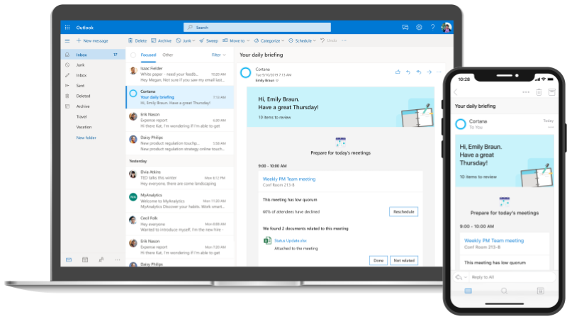 Screenshot of an Outlook inbox on desktop and mobile with Cortana's Briefing email