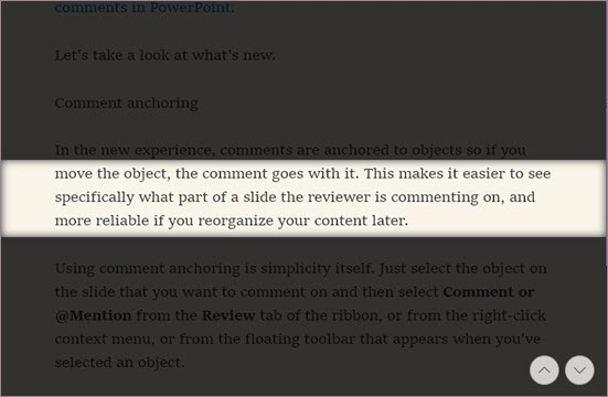 Line focus in Immersive Reader