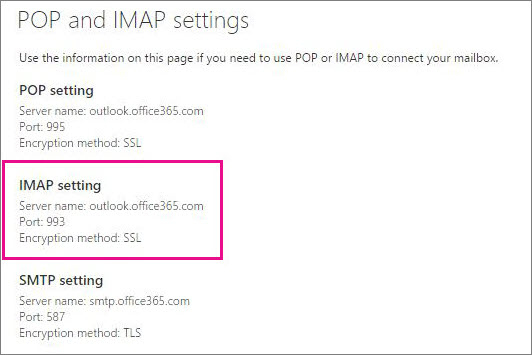Shows the link for POP or IMAP access settings