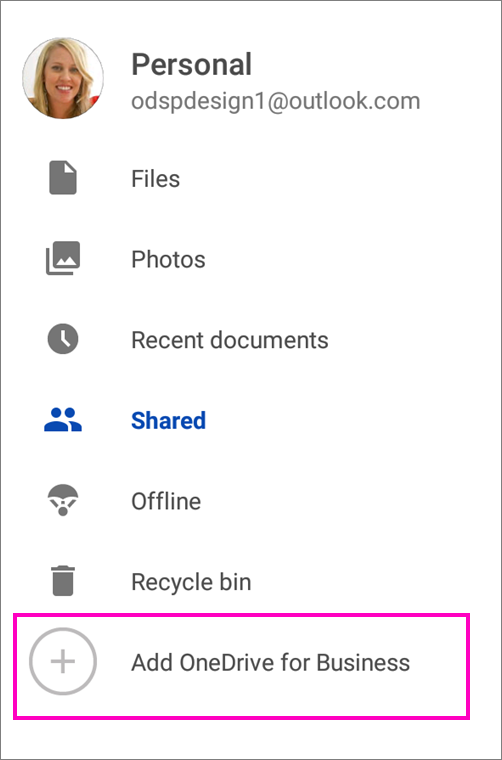 Add OneDrive for Business.