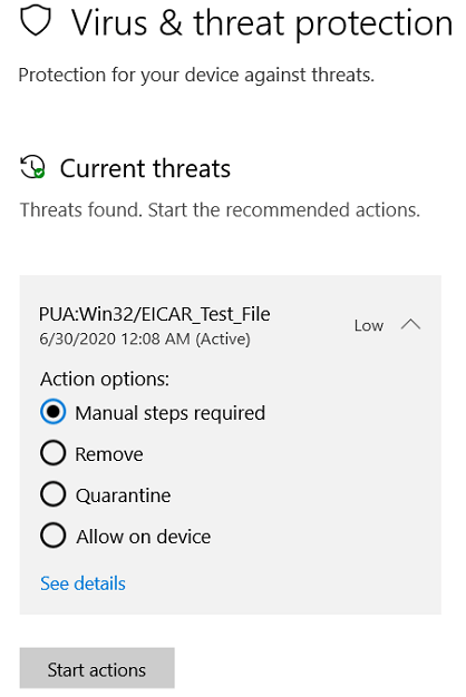 The actions you can take when Windows Security has detected a potentially unwanted app