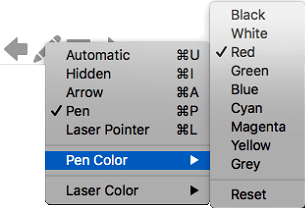 You can choose from several options for the color of the pen pointer.