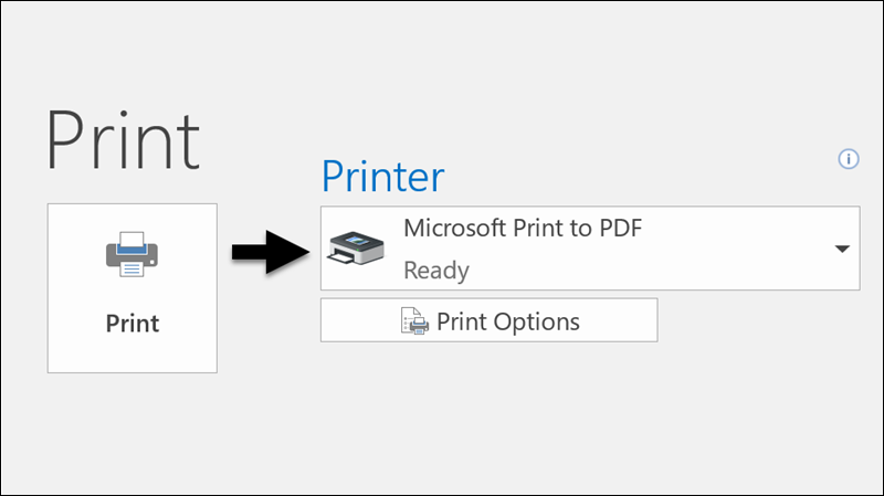 Use the Print command to print an email to a PDF file.