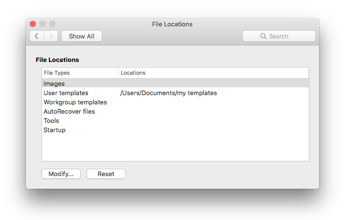 screen shot of the File locations preference panel from Microsoft Word