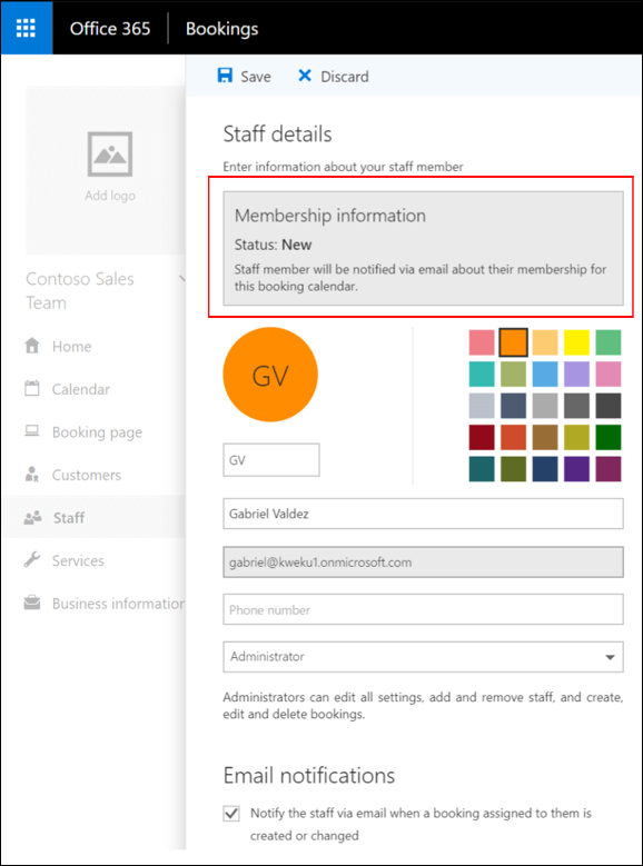 Staff details page with Save button highlighted