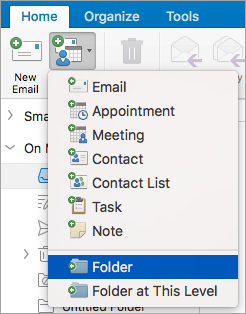 Shows selecting Folder from the New Items list.