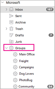 Groups listed in folder pane of Outlook 2016 for Mac