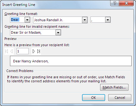 Insert mail merge fields word greeting line options m4hsunfo